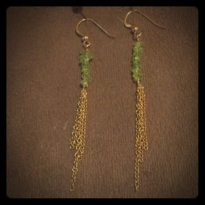 Solid 14k Gold Peridot French Hook Earrings